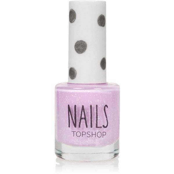 TOPSHOP White Speckle Nails in Everybody Get Up (6.140 CLP) ❤ liked on Polyvore featuring beauty products, nail care, nail polish, beauty, nails, makeup, lilac, topshop and topshop nail polish