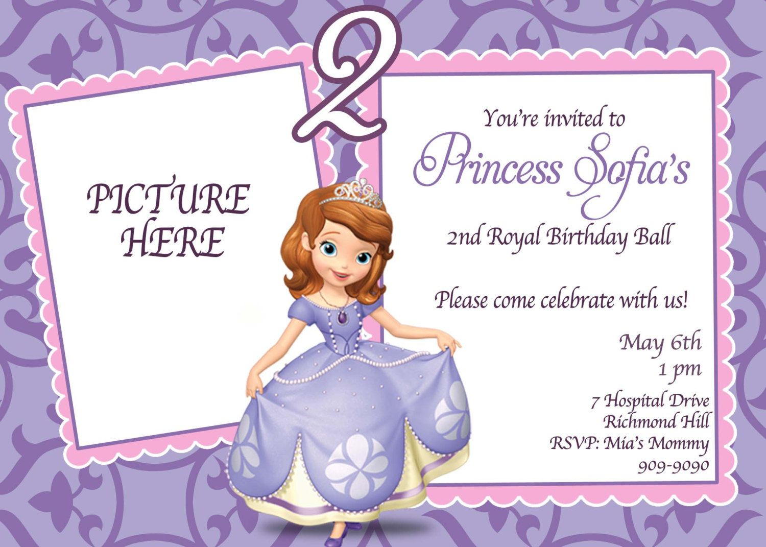 templates sofia birthday invitation
