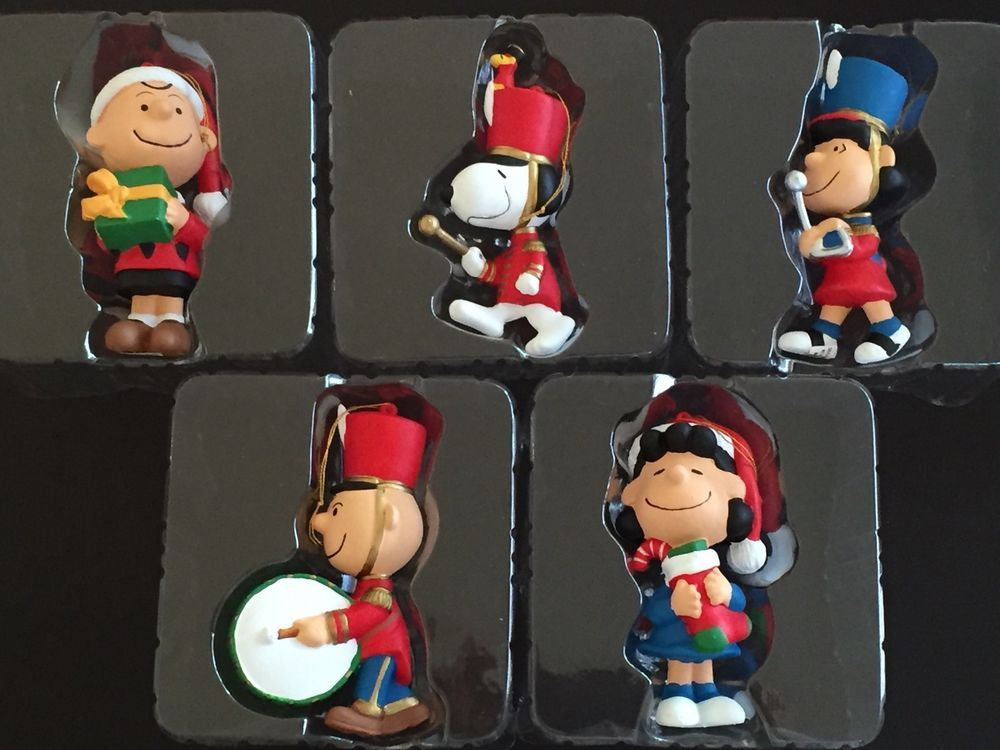 Marching Band Christmas Ornaments Part - 20: Peanuts Christmas Ornament Lot 5 Snoopy Lucy Charlie Santa Marching Band  Adler