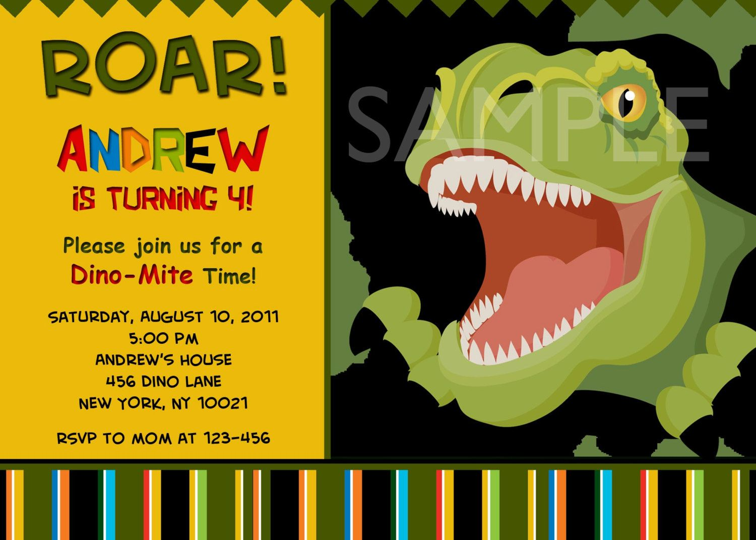 Custom Personalized T Rex Dinosaur Birthday Party Invitation With or ...