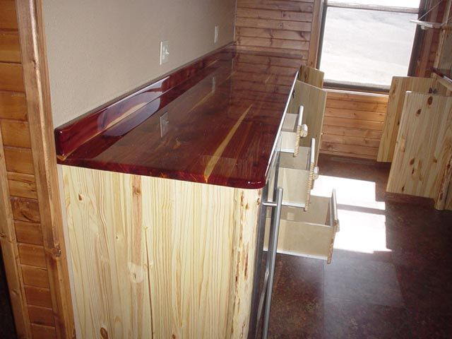 K And A Log Furniture Red Cedar Countertop With Pine