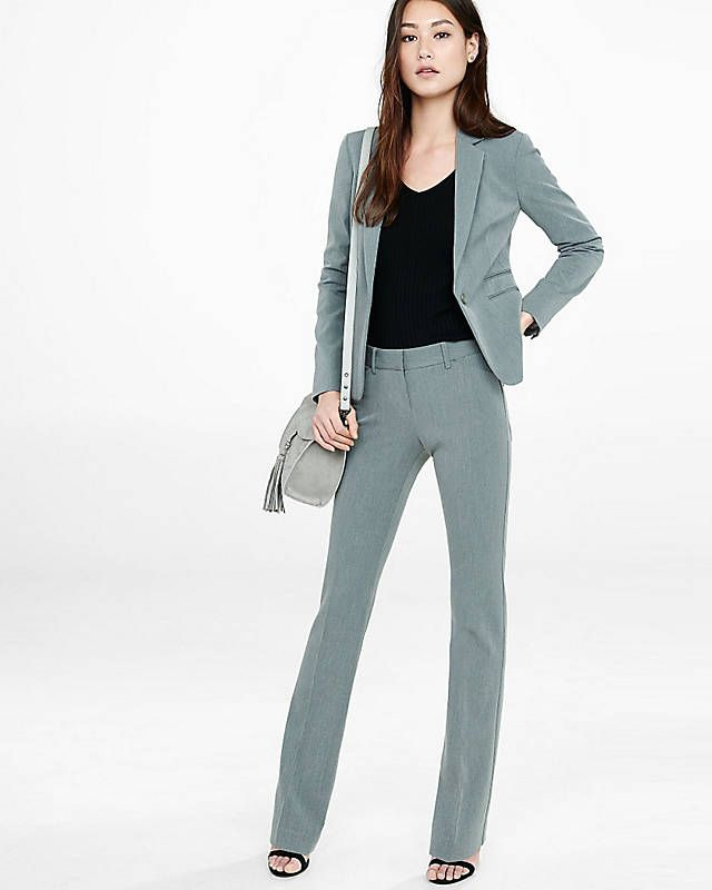 Heather Gray Editor Barely Boot Suit | Express | Express ...