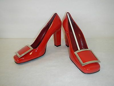"Vintage Yves Saint Laurent Red Patent Leather Pumps NOS 8.5M 4"" Heel"