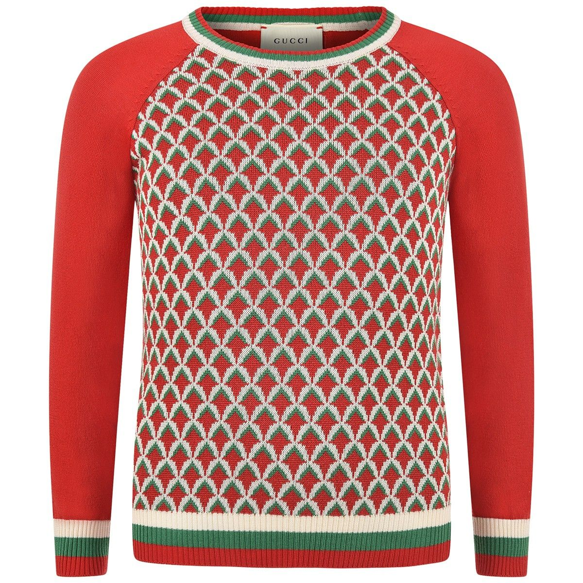GUCCI Boys Red & Green Patterned Sweater | Parenting | Pinterest ...