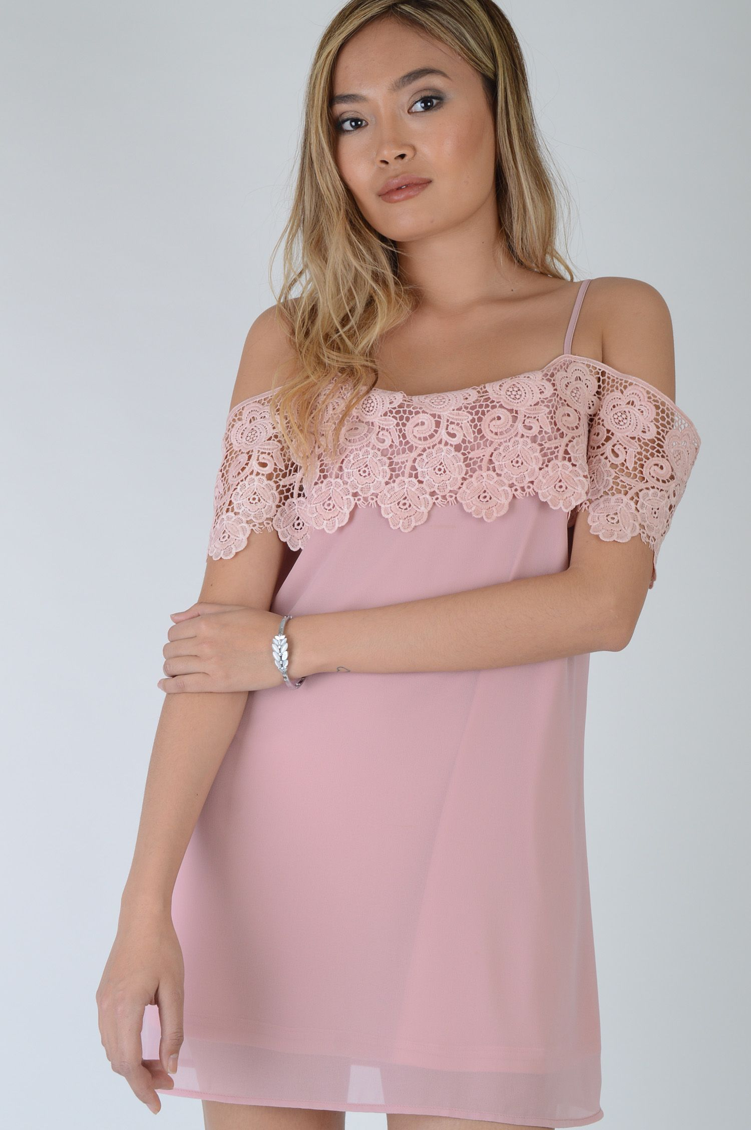 1a50c09844  ad Pink Smock Dress With Lace Off Shoulder Frill. Price   15.99. Feel