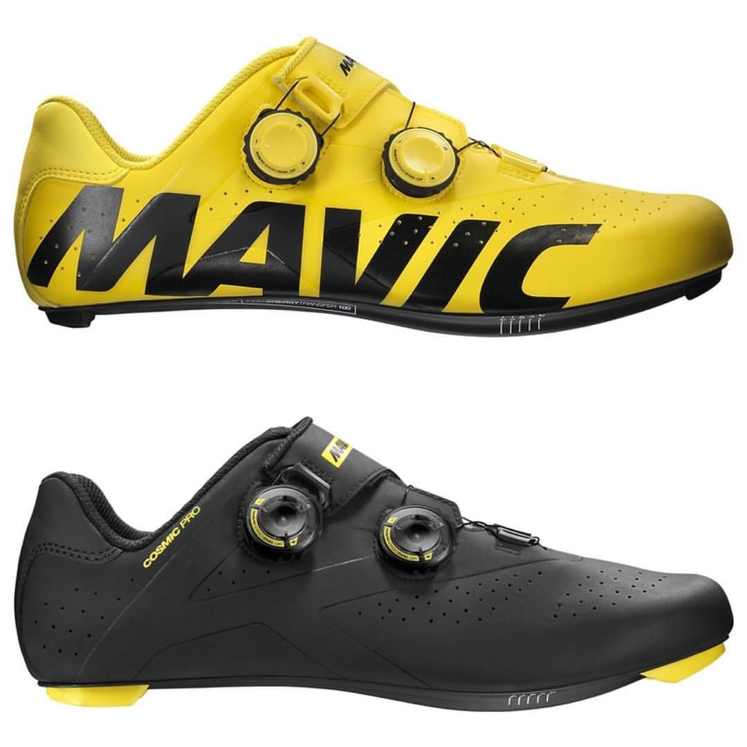 "glorycycles: "" New 2017 Mavic Cosmic Pro road shoes coming available this week. The yellow is a limited color #mavic #mavicshoes #shoedoping """