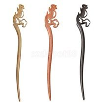 Vintage Handmade Simple Carved Wood Squirrel Design Chopstick Hair Stick Pick Pin Accessories