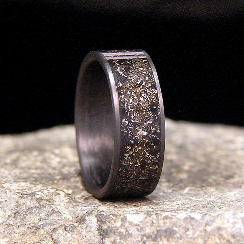 Gibeon Meteorite Shavings Inlay Carbon Fiber Wedding Band Or Ring