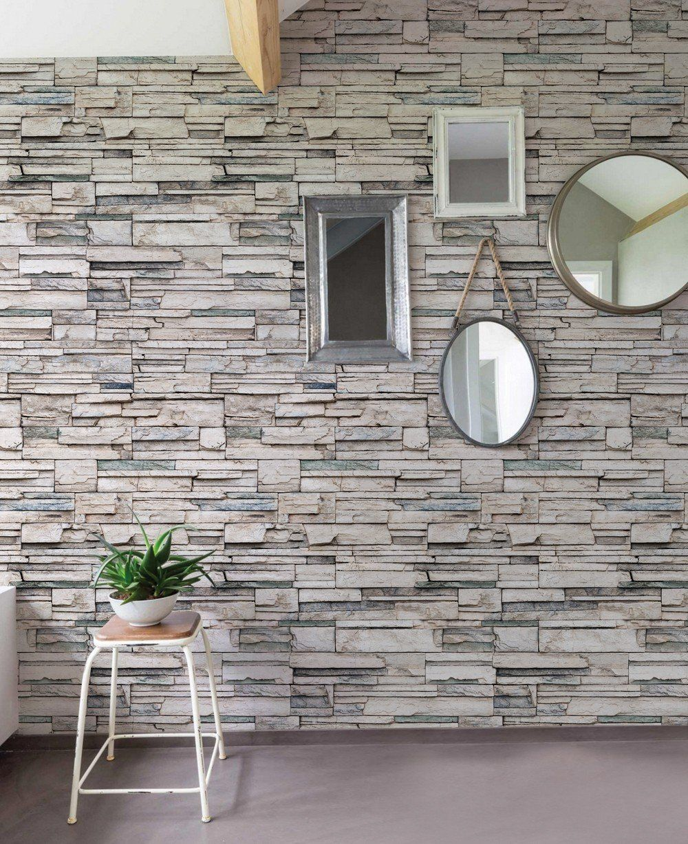Faux stone wallpaper peel and stick