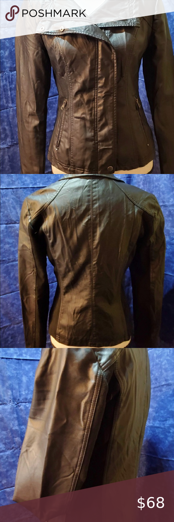 RD Style Black Leather NWOT Biker Jacket Small in 2020