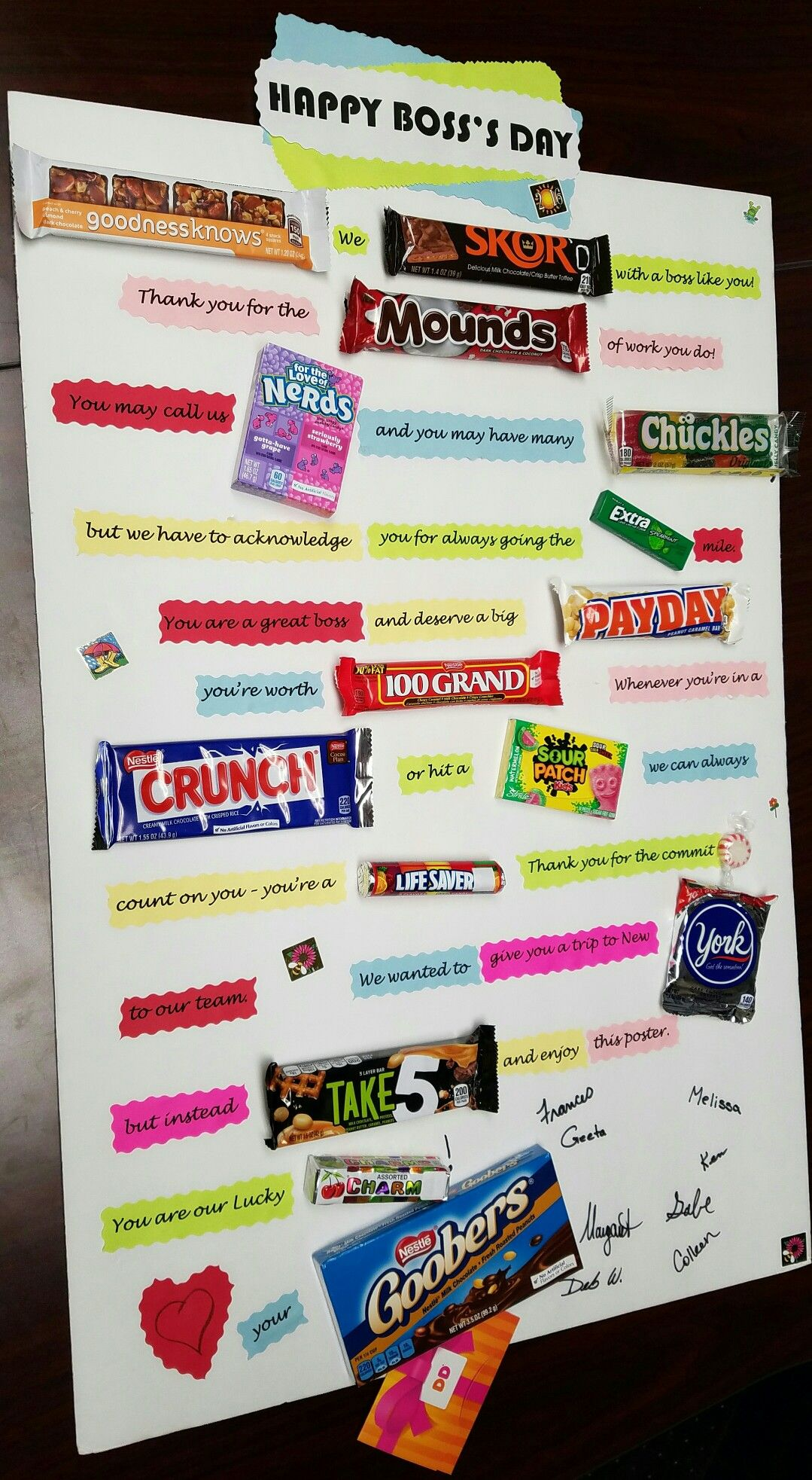 Boss's Day Candy Poster Board | Crafty Ideas & Camping ...
