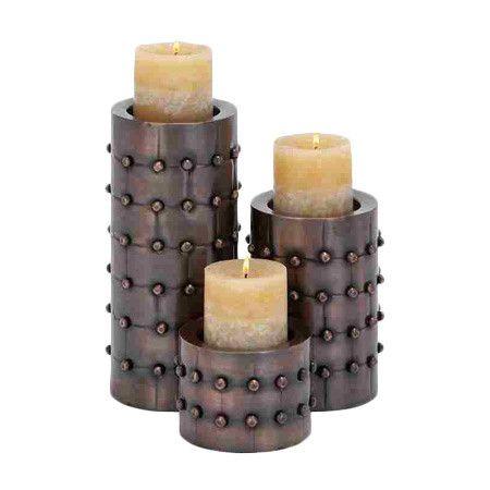 Studded Candleholder Set Candle Holders Metal Candle Holders Metal Candle