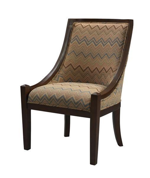 Carnegie Traditional Brown Chevron Hardwoods Fabric Chair