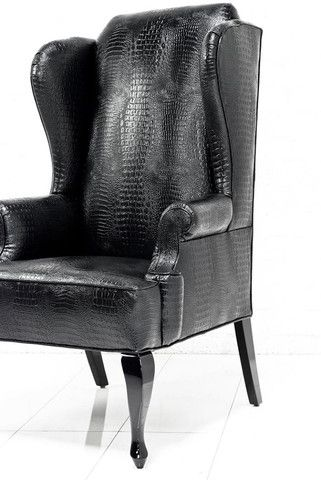 Brixton Wing Chair In Black Croc Leather   ModShop