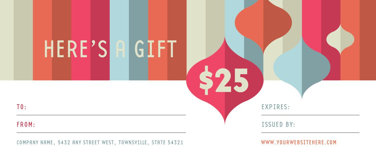 Make your own contemporary gift certificate with a design template - make your own gift voucher template