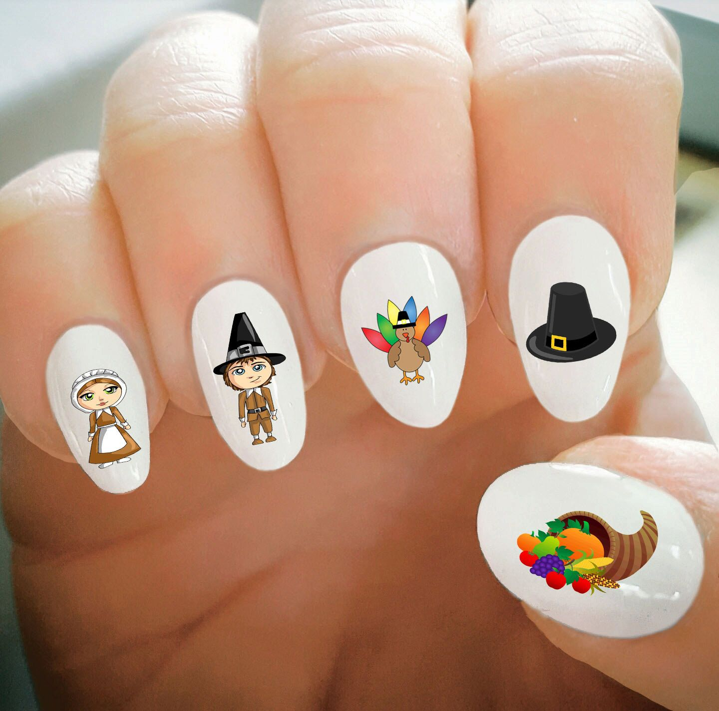 Nail Decals, Thanksgiving Nail Decals, Water Transfer Nail Decals ...