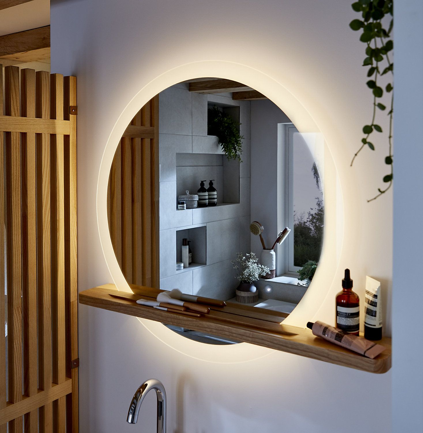 Goodhome Adriska Illuminated Round Bathroom Mirror With Shelf W 800mm H 25mm In 2020 Bathroom Mirror With Shelf Round Mirror Bathroom Bathroom Mirror