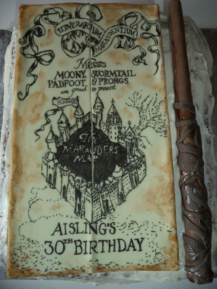 Harry Potter Marauder S Map And Wand Cake Harry Potter Torte Harry Potter