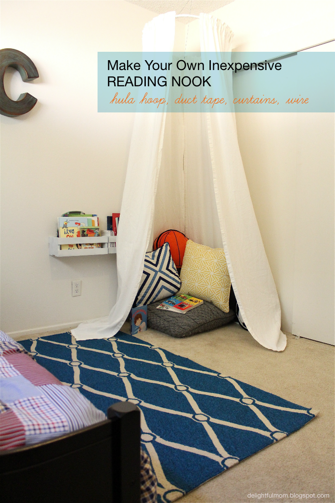 Inexpensive Bedroom Reading Nook: DIY | Delightful Mom Food  Here you will find healthy, fresh and delicious recipes for breakfast, lunch, dinner and snacks tha #Bedroom #Delightful #DIY #Food #Inexpensive #Mom #Nook #Reading