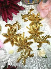 """0505  Gold Floral Mirror Pair Beaded Sequin Appliques 6/"""" ~SEWING CRAFTS MOTIF :"""
