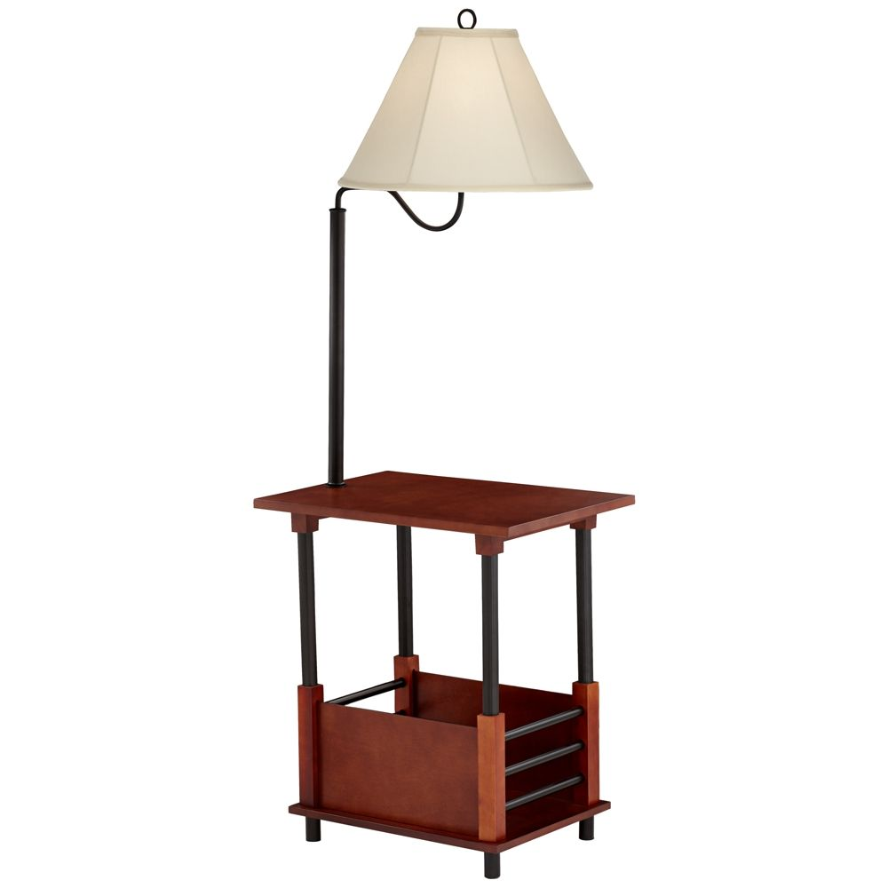 Marville Mission Style Swing Arm Floor Lamp With End Table 2t841