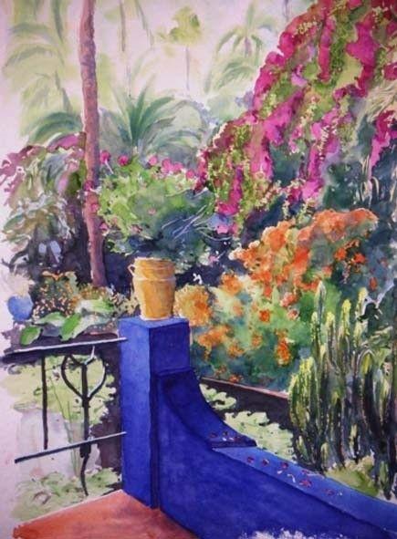 Jardin Du Sud Bleu Peinture 55x75 Cm C 2008 Par Catherine