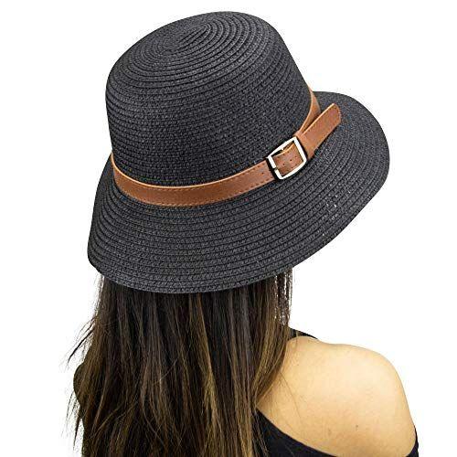 df8d58288e97 Fifth Ave Fair [Black] Floppy Beach Hat - Wide Brim Straw... Visit. April  2019