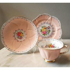 Beautiful & Vintage Pink Teacup in Trio by Shelley England