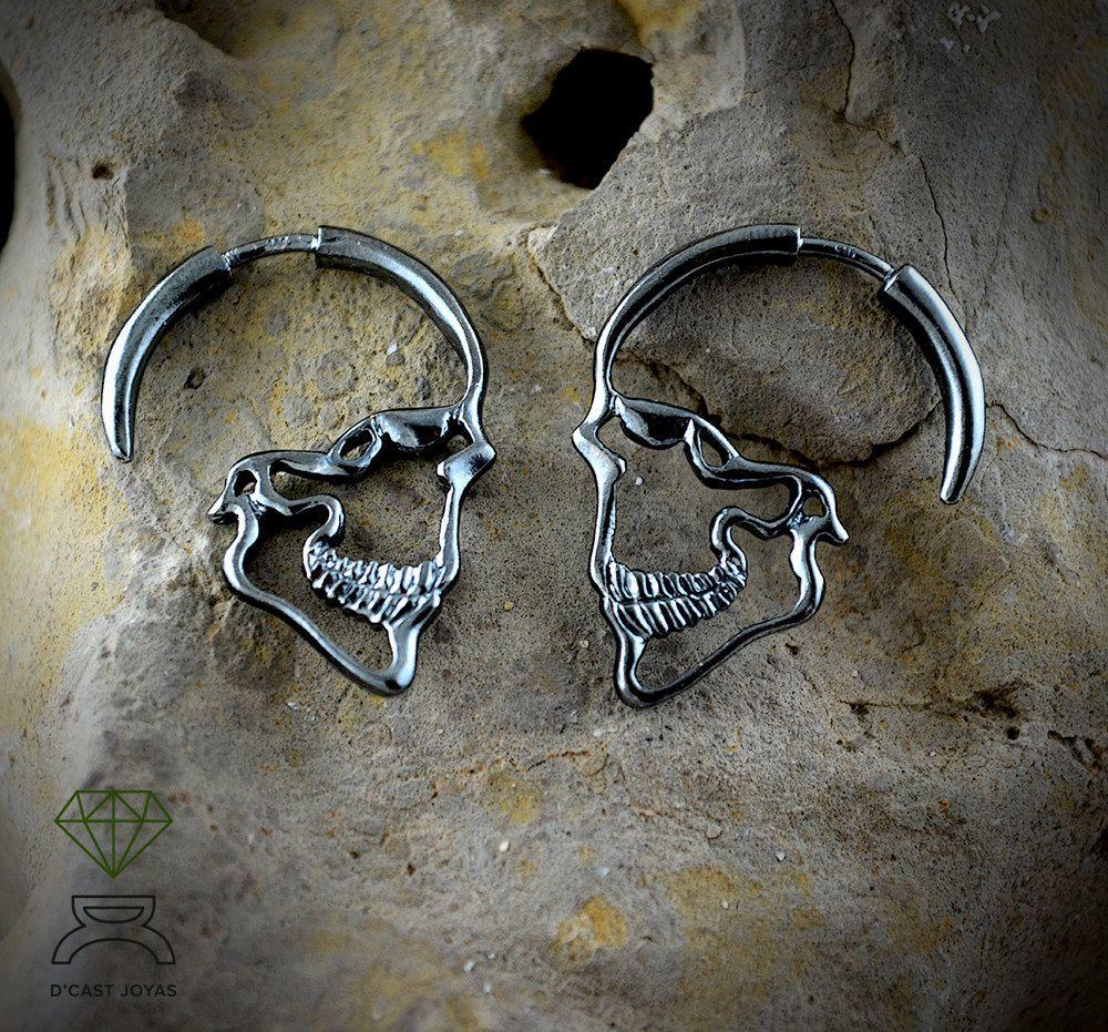 Arete calavera pendiente Skull tipo plata plata 925er Gothic tribal