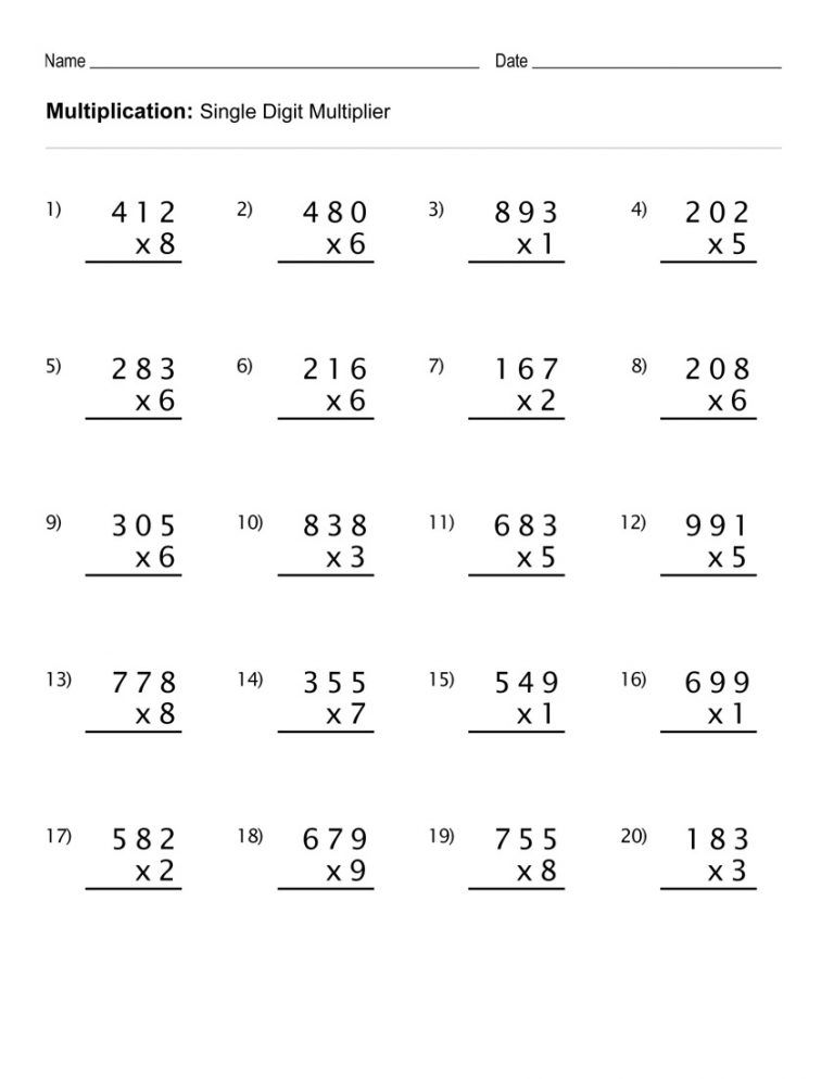 4th Grade Multiplication Worksheets Best Coloring Pages For Kids 4th Grade Math Worksheets Multiplication Worksheets Math Worksheets