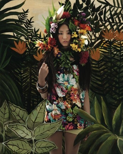 """Welcome to the Jungle"": Henri Rousseau Homage by An Jisup for Vogue Girl Korea"