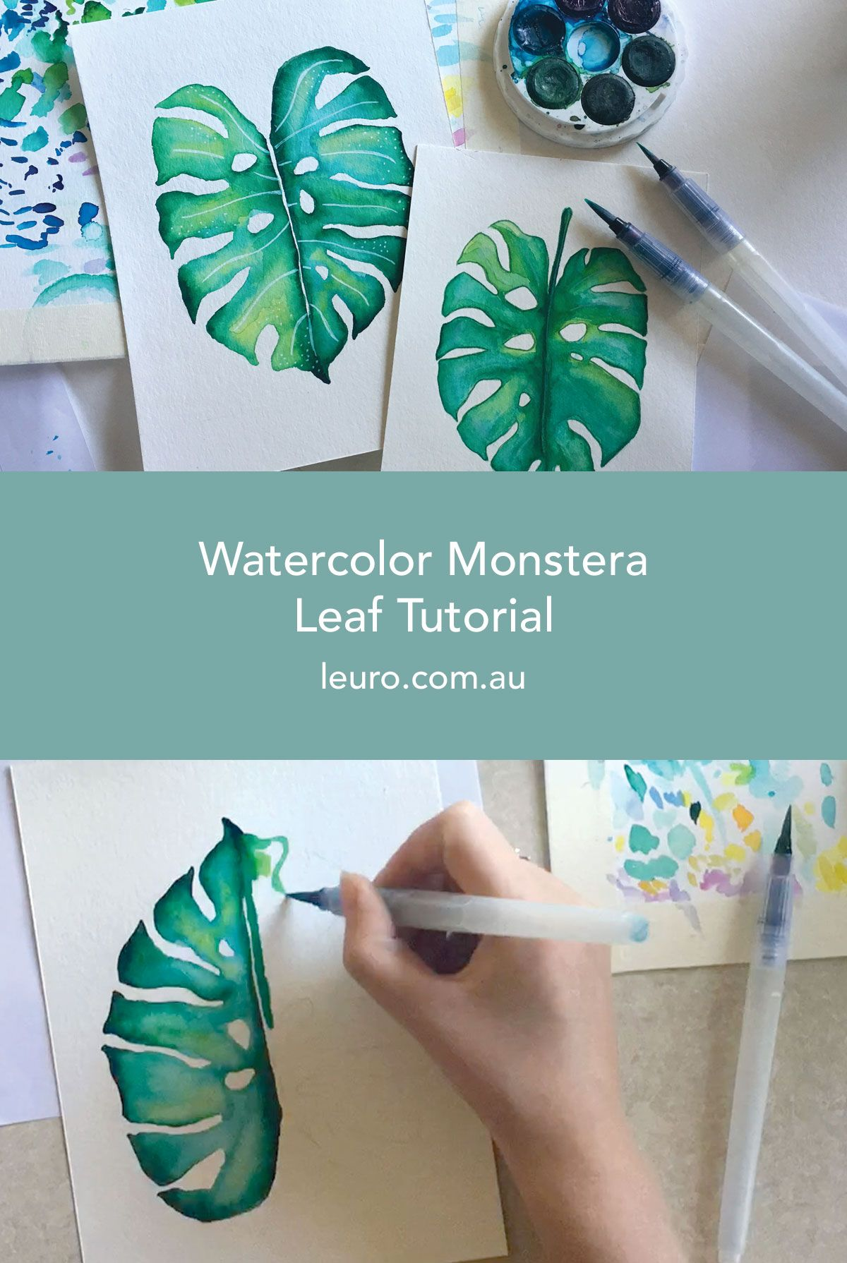 Watercolour Monstera Leaf Tutorial Watercolor Art Diy