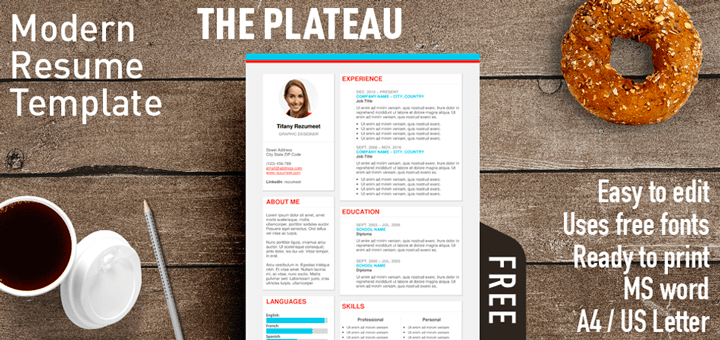 Free Modern Resume Templates The Plateau Is A Free Modern Resume Template With A Fresh Style
