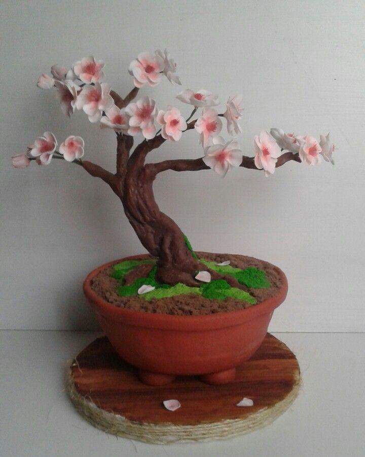 Bonsai Cerezo Sakura Cake Chocolateplastico 100 Comestible Byflora Tree Cakes Custom Cakes Cherry Blossom Cake