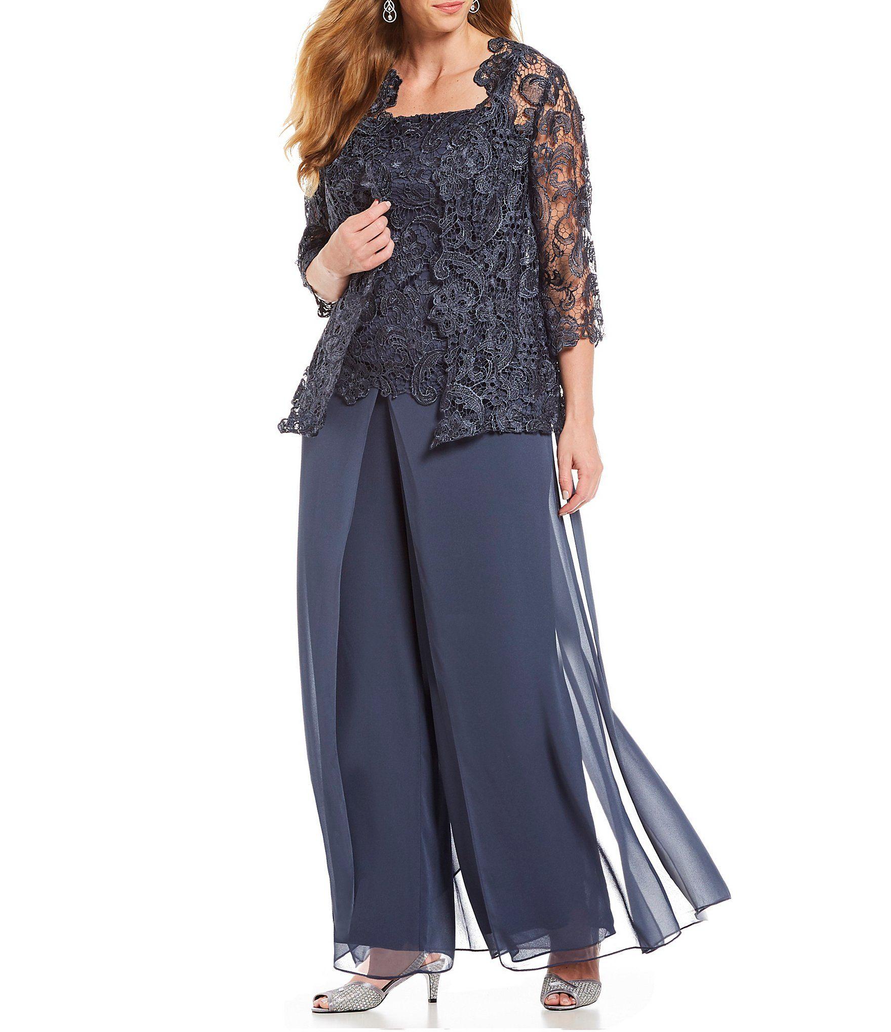 Shop For Emma Street Plus Lace Chiffon 3-Piece Pant Set At