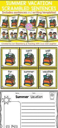 Summer Vacation Scrambled Sentences - double lined paper