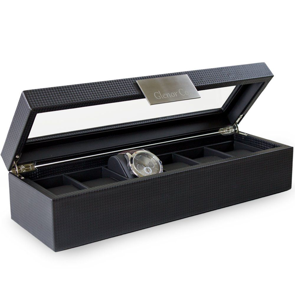 Watch Case for Men 6 Slot Luxury Display Box Organizer Carbon