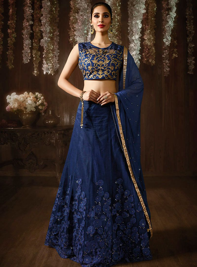 46fe4ede6d Buy Navy Blue Net A Line Lehenga Choli 86124 online at best price from vast  collection of Lehenga Choli and Chaniya Choli at Indianclothstore.com.