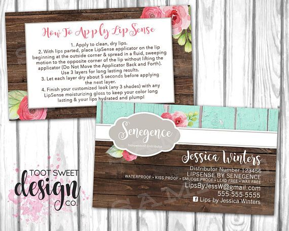 lipsense business card lipsense by senegence marketing kit how to apply application rustic wood shabby chic floral printable