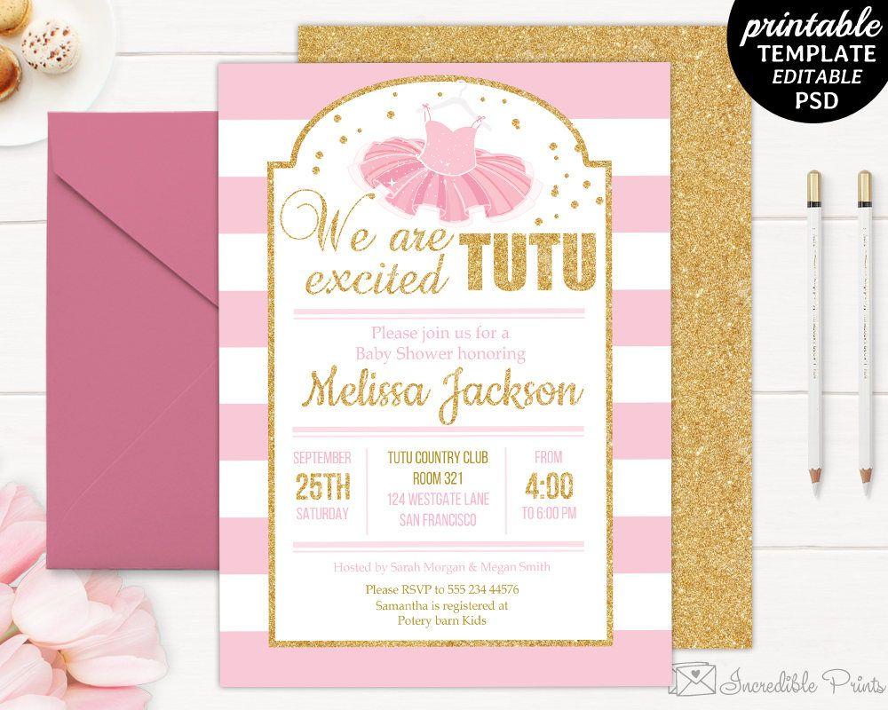 Printable Tutu Baby Shower Invitation Template. We are Tutu Excited ...