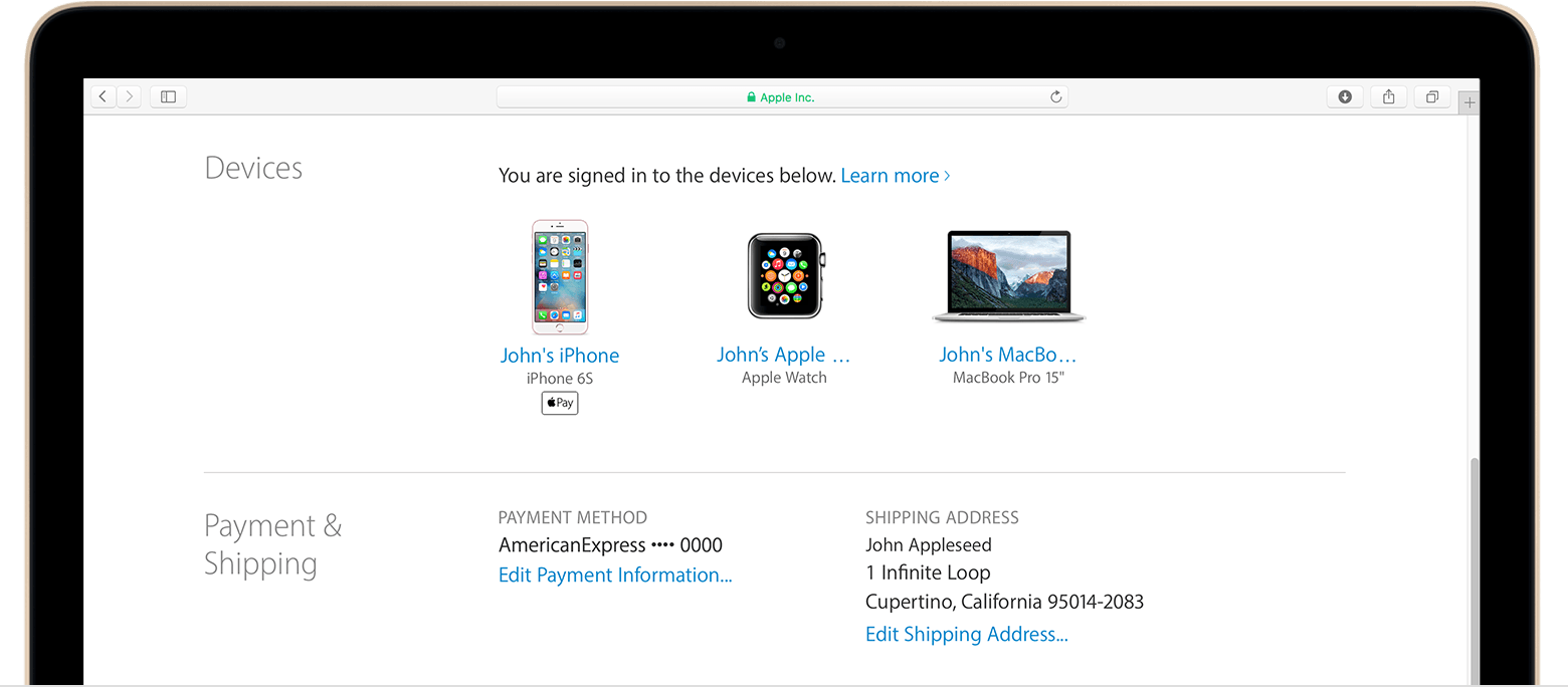 Learn which devices appear in your Apple ID device list