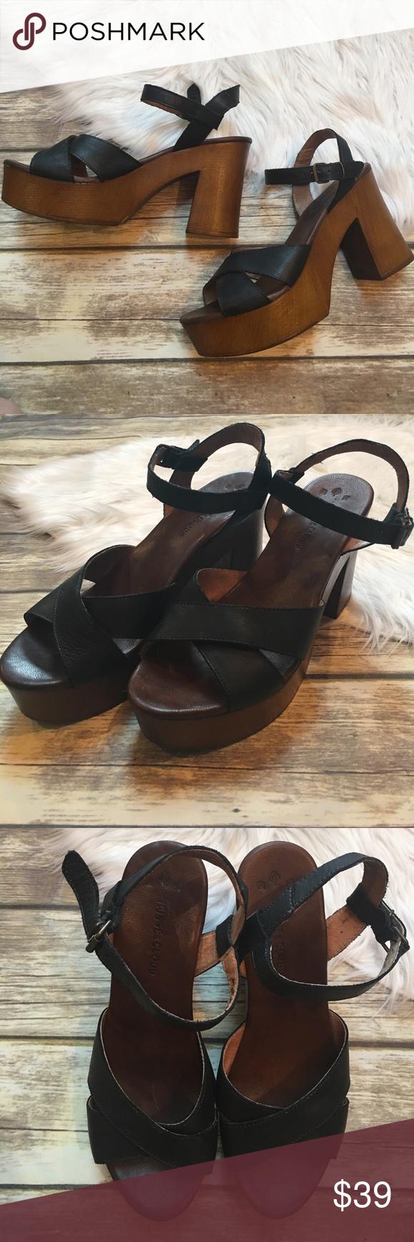 23794acf8ef3 Musse   Cloud Miley Platform Sandals Black leather straps with wooden  platform and heel. Platform