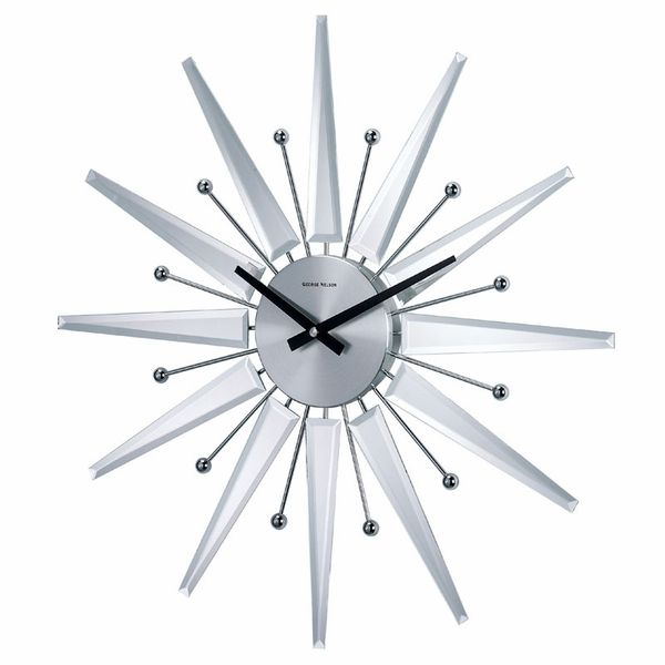 Mirrored Sunburst Wall Clock Sunburst Clock Modern Clock Wall Clock