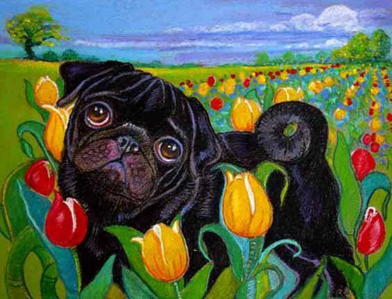 Black Pug Painting Art Dog Tulips Original Pug Dog By Dogsinpastel