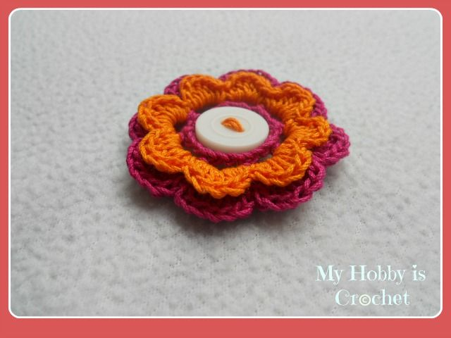 My Hobby Is Crochet 2 Layered 8 Petal Thread Flower Free Crochet