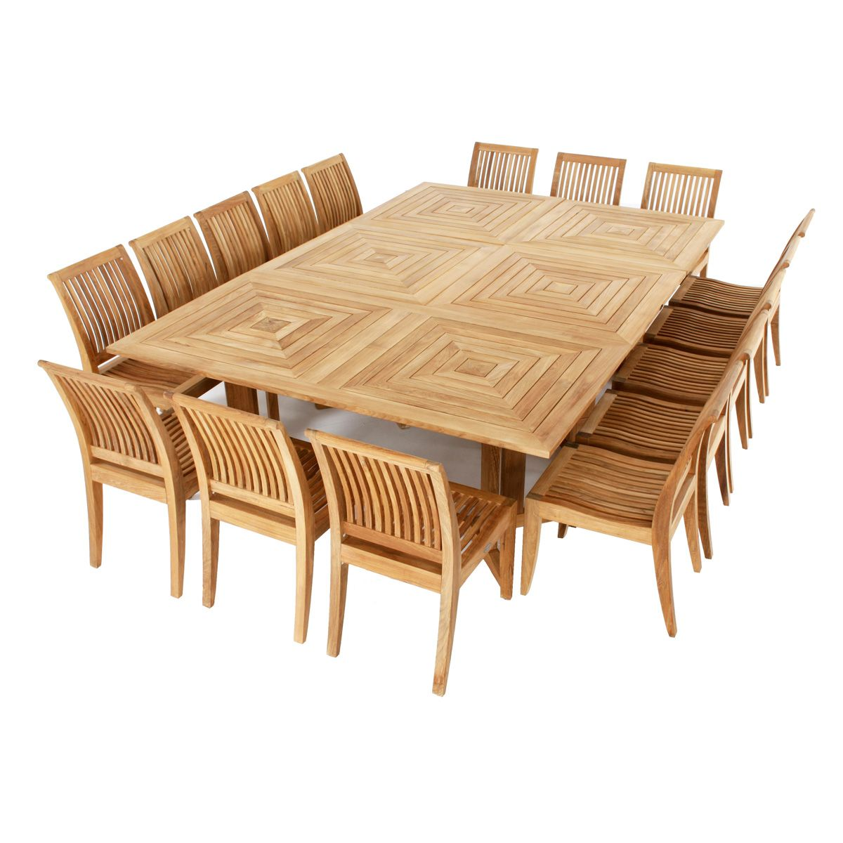 Pyramid Teak Dining Set For 16 Teak Outdoor Furniture Teak
