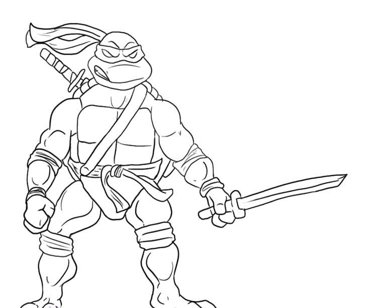 Leonardo Ninja Turtle Will Readily Kill Coloring Page Turtle
