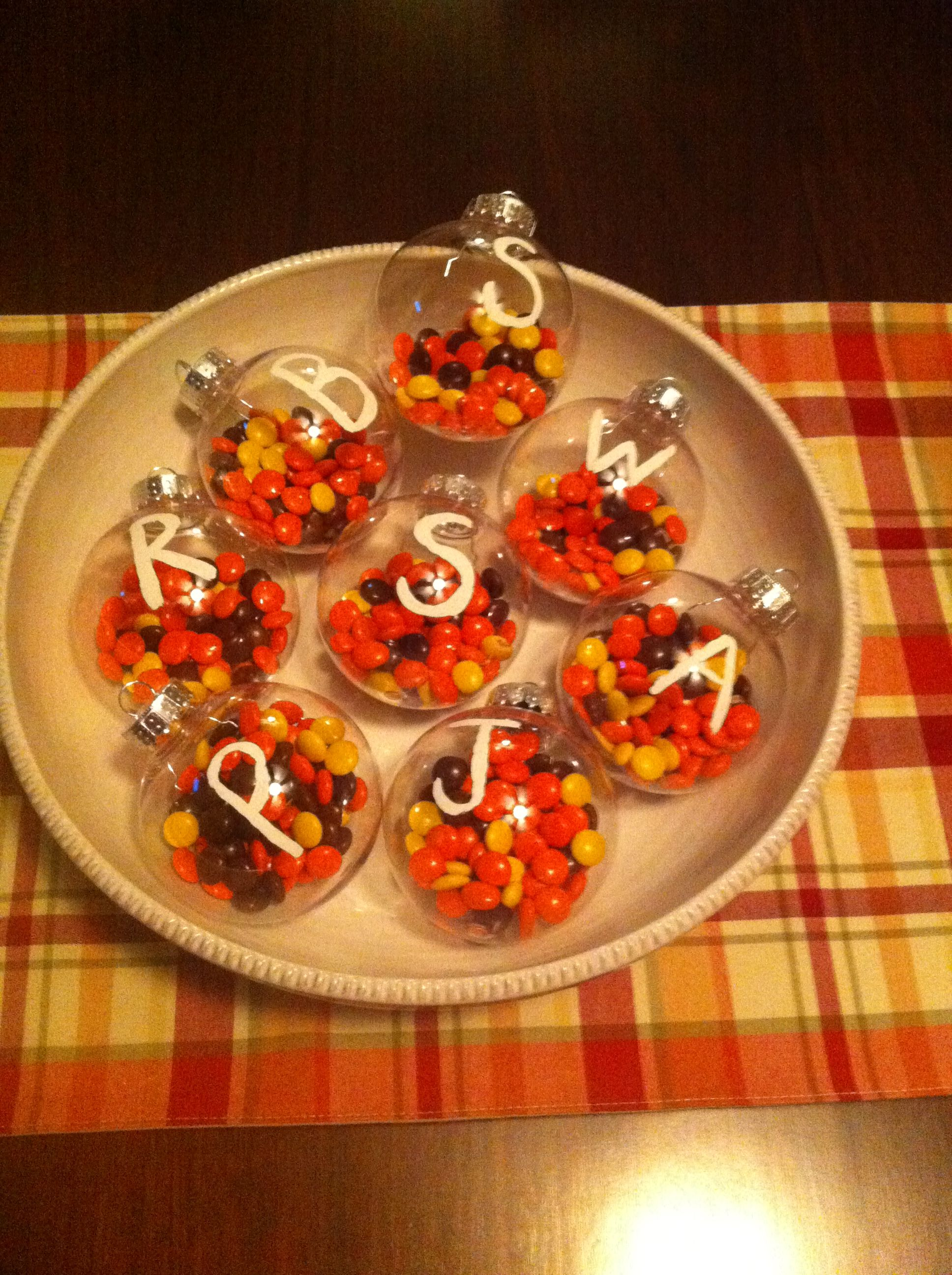 walmart 88 cents ornaments a white pen and reeses pieces candy combine thanksgiving