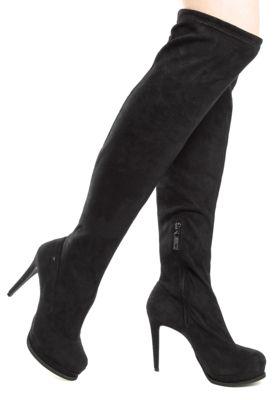 3816c486d Bota Ellus High Knee Boot Salto Alto Fino Meia-Pata Preta