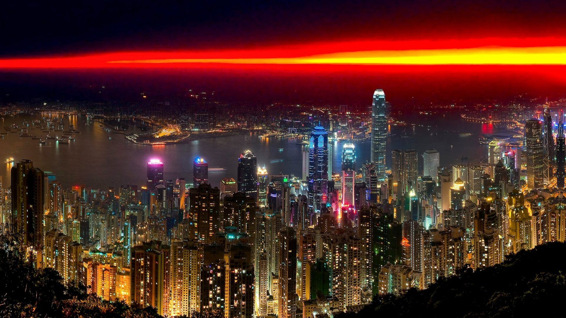 Hong Kong Sunset China City Lights Night Hd Background City Wallpaper City Night City